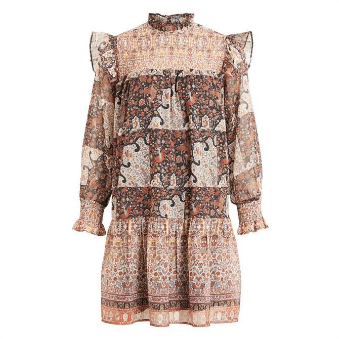 Object Arya Patterned Ruffle Mini Dress