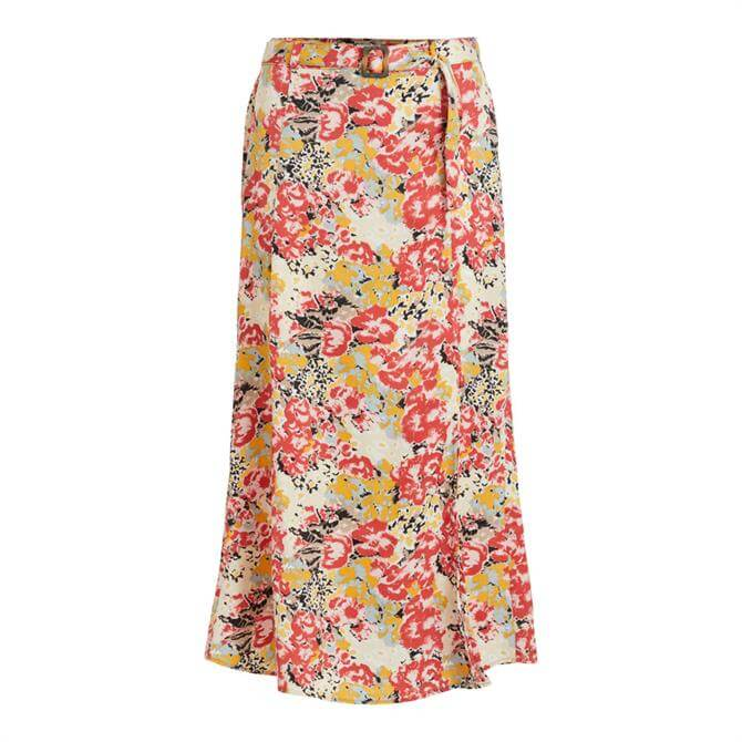 Object Jolly Floral Belted Midi Skirt