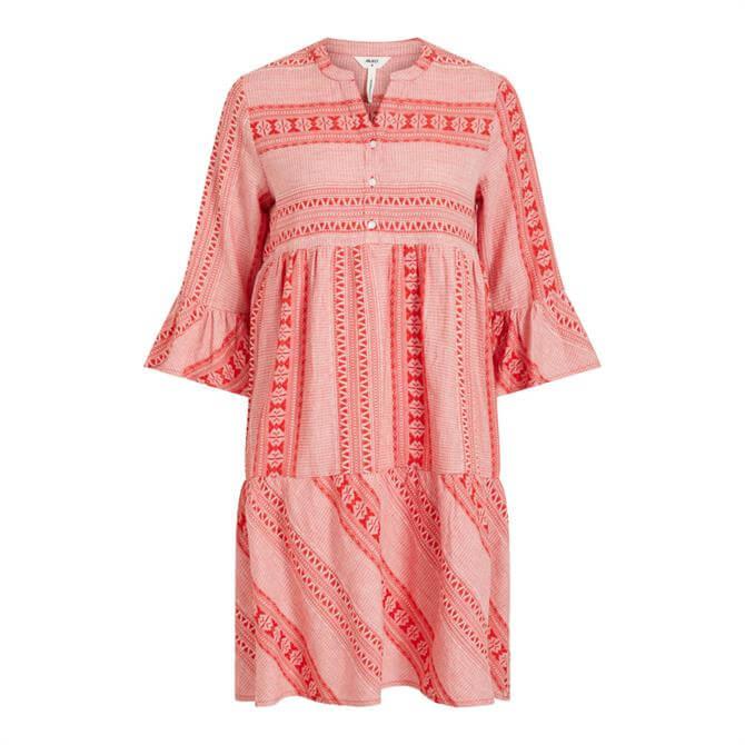 Object Natascha Patterned Ruffle Sleeve Dress