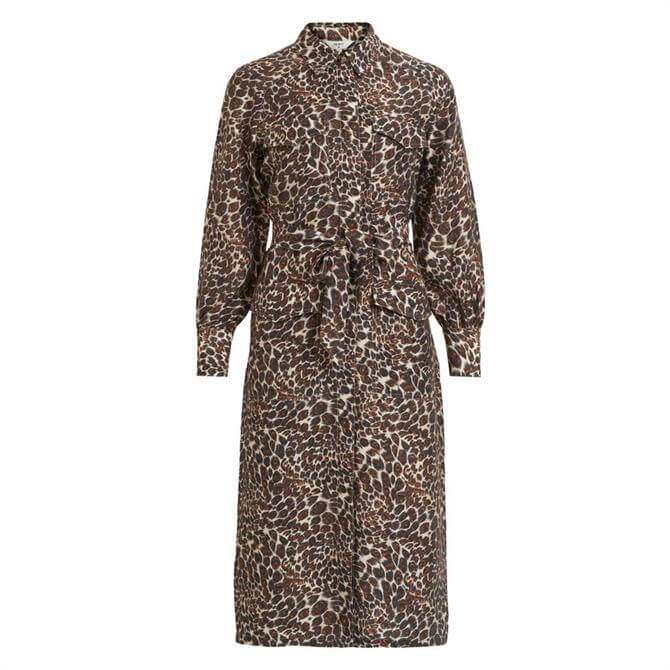 Object Leopard Print Tie Waist Shirt Dress