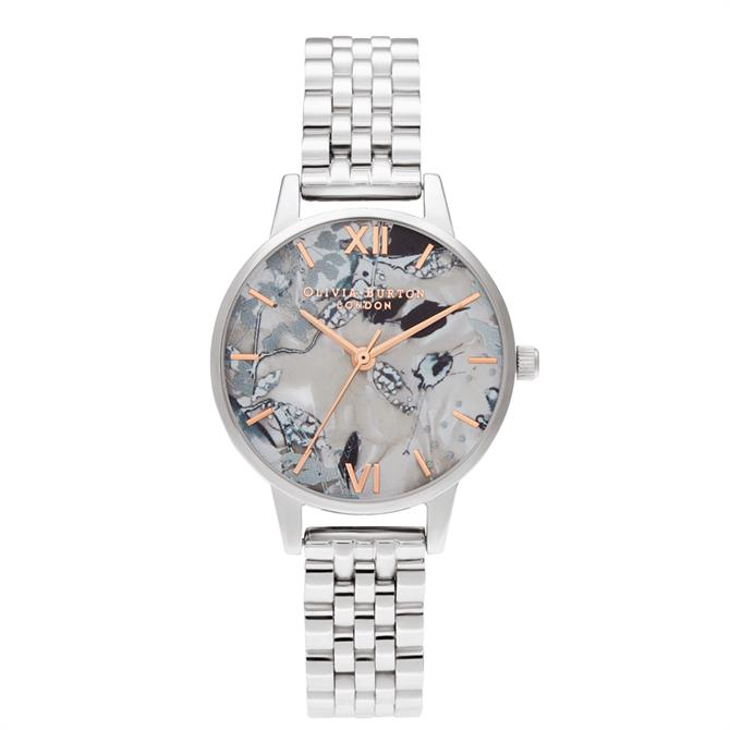 Olivia Burton Abstract Florals Rose Gold & Silver Bracelet Watch