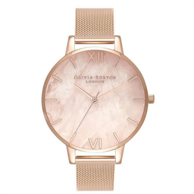 Olivia Burton Semi Precious Rose Gold Mesh Watch