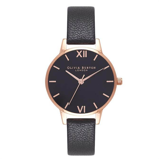 Olivia Burton Black & Rose Gold Watch