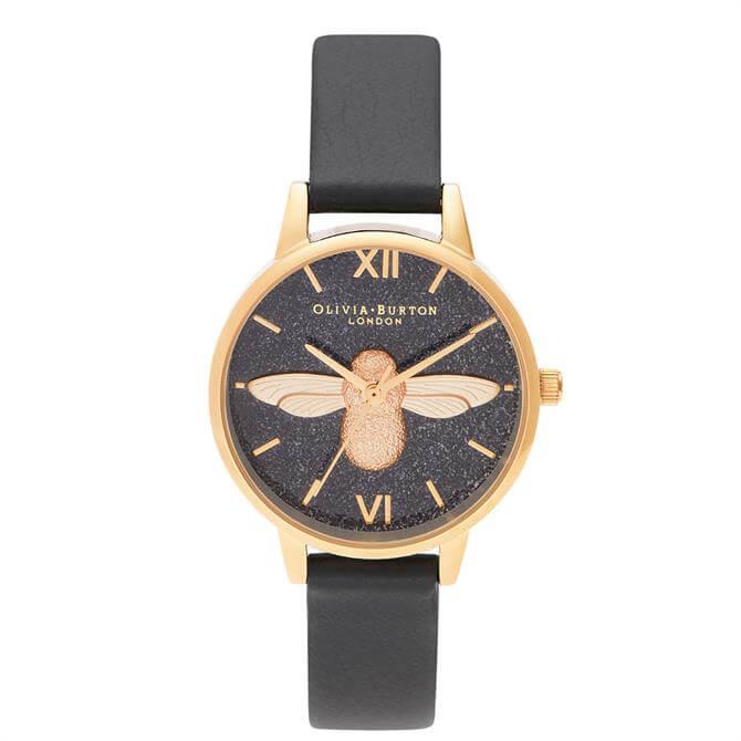 Olivia Burton Glitter Bee 3D Bee, Eco Black & Gold Watch