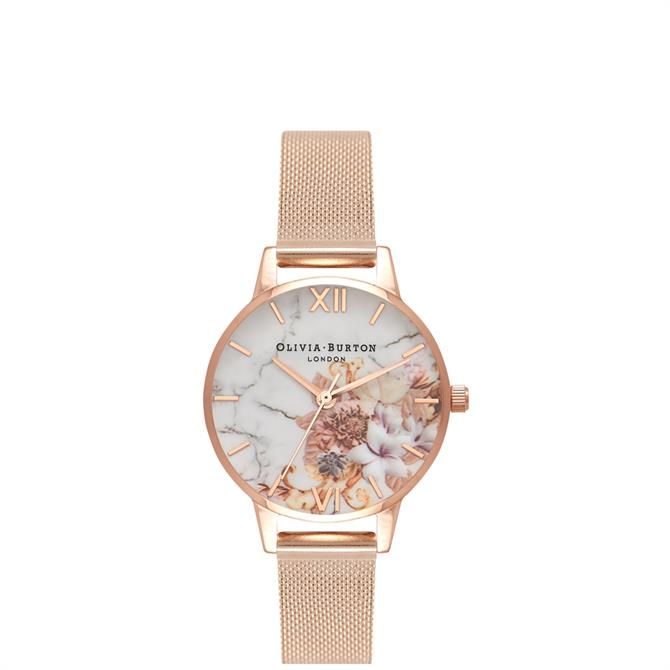 Olivia Burton Marble Florals Rose Gold Mesh Watch