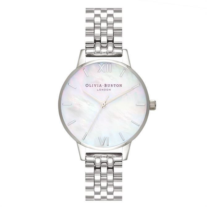 Olivia Burton Mother of Pearl Silver Bracelet Watch