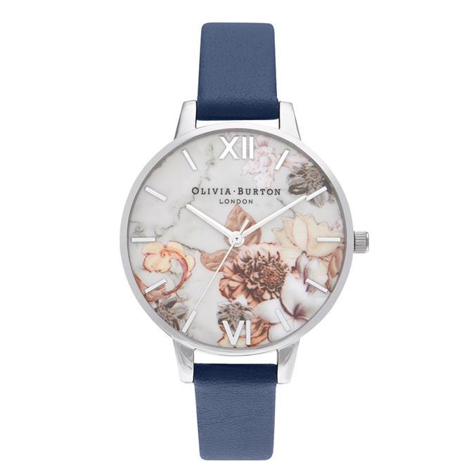 Olivia Burton Marble Florals Navy & Silver Watch