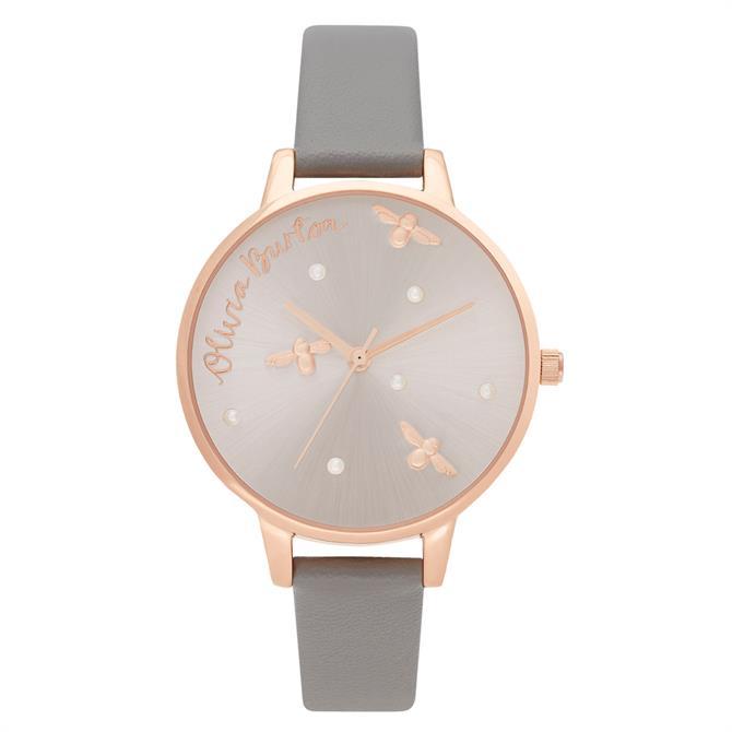 Olivia Burton Pearly Queen Vegan London Grey & Rose Gold Watch