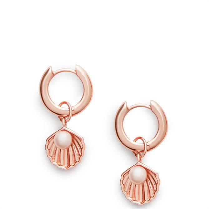 Olivia Burton Under the Sea Huggie Hoop Pearl & Rose Gold Earrings