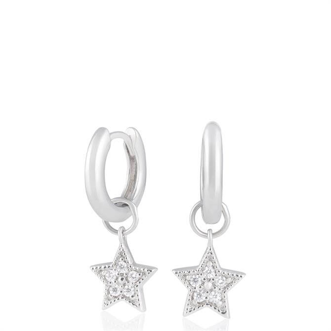 Olivia Burton Celestial Star Charm Sterling Silver Huggies Earrings