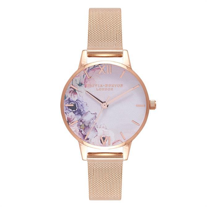 Olivia Burton Watercolours Florals Rose Gold Mesh Watch