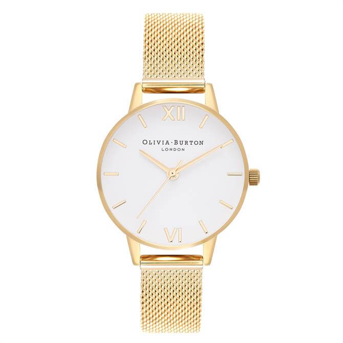 Olivia Burton White Dial Gold Mesh Watch