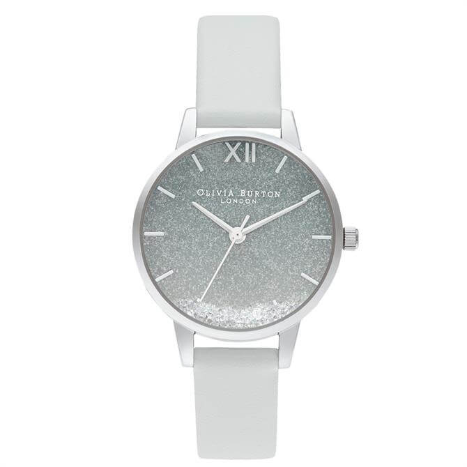 Olivia Burton Wishing Wave Glitter Eco Friendly, Grey & Silver Watch