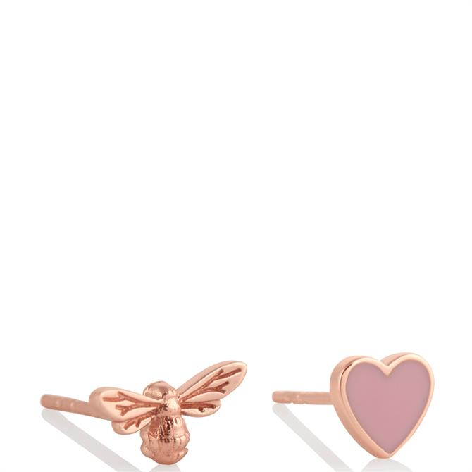 Olivia Burton You have My Heart Pink & Rose Gold Sterling Silver Studs