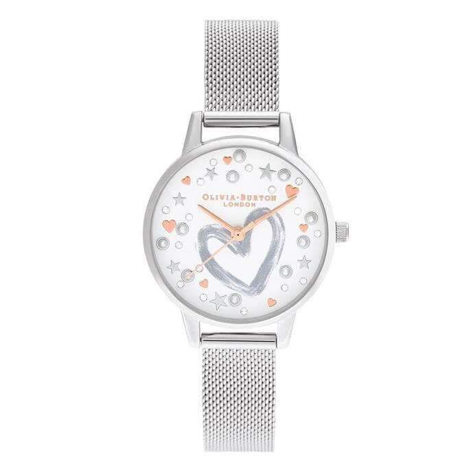 Olivia Burton You Have My Heart Rose Gold & Silver Mesh Watch