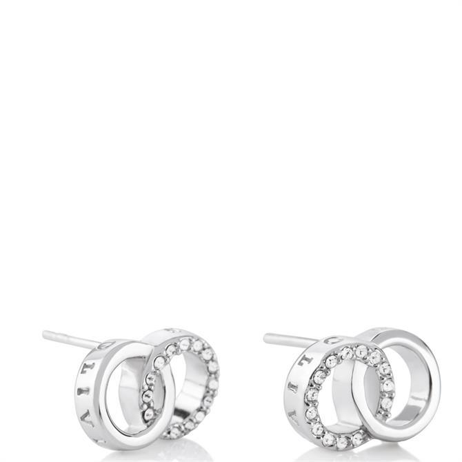 Olivia Burton Bejewelled Interlink Sterling Silver Stud Earrings