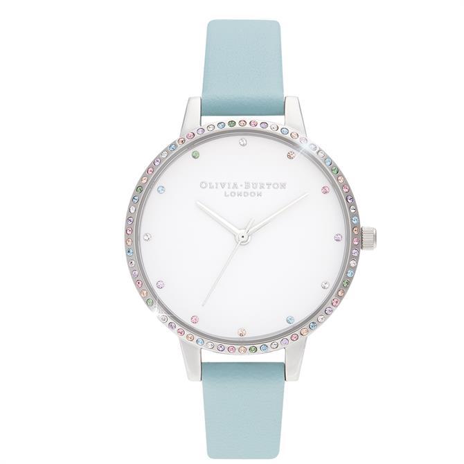 Olivia Burton Rainbow Bezel Turquoise & Silver Watch