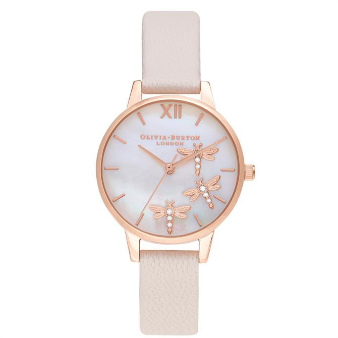 Olivia Burton Dancing Dragonfly Blush Faux Mother of Pearl Watch