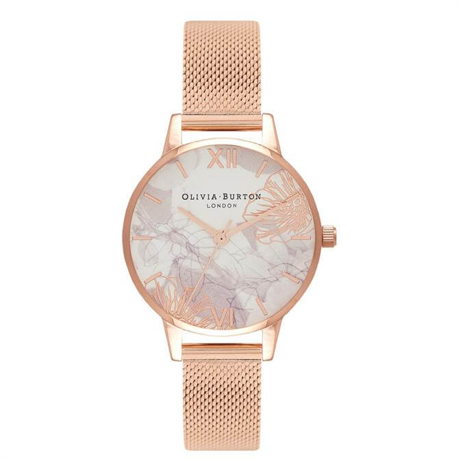 Olivia Burton Abstract Florals Rose Gold Mesh Watch
