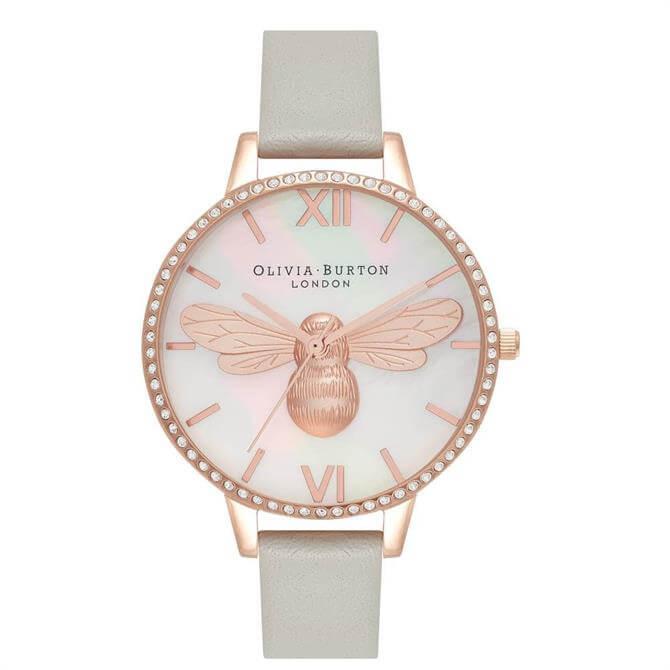 Olivia Burton Lucky Bee Demi Dial Vegan Grey & Rose Gold Watch