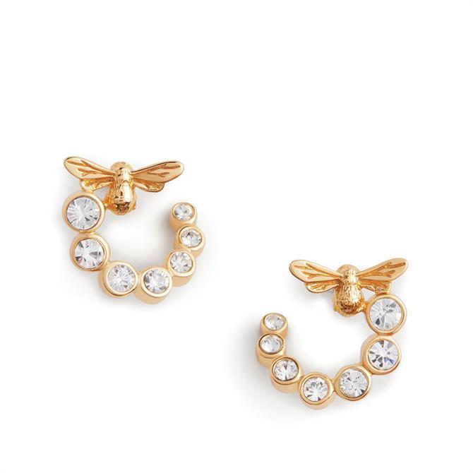 Olivia Burton Bejewelled Lucky Bee Swirl Hoop Earrings