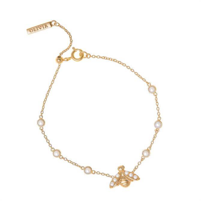 Olivia Burton Pearl Bee Gold Bracelet