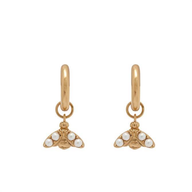 Olivia Burton Pearl Bee Gold Huggie Hoop Earrings