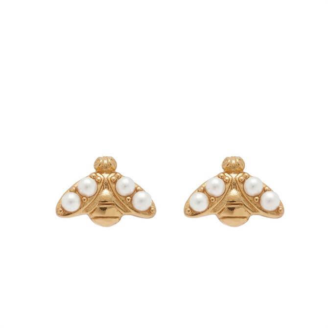 Olivia Burton Pearl Bee Gold Stud Earrings
