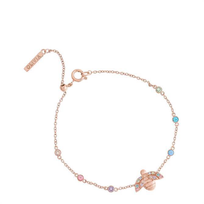Olivia Burton Rainbow Bee Rose Gold Chain Bracelet