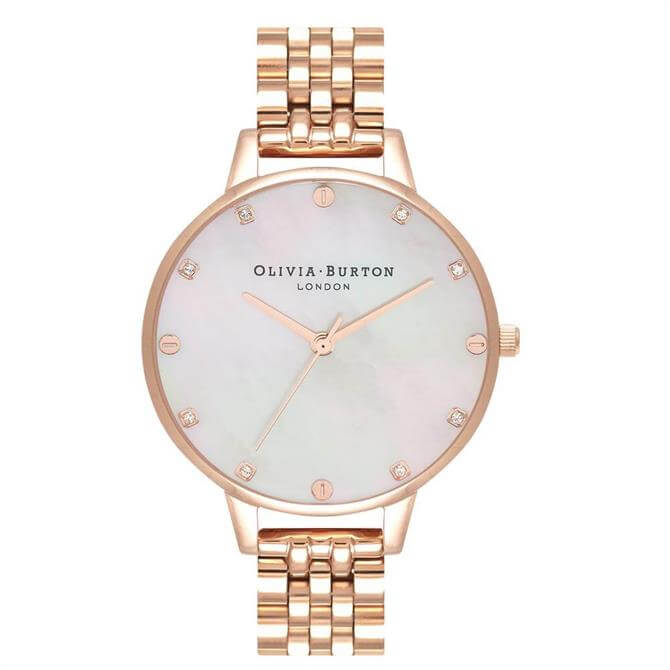 Olivia Burton Blush Mother of Pearl Demi Dial Rose Gold Bracelet Watch