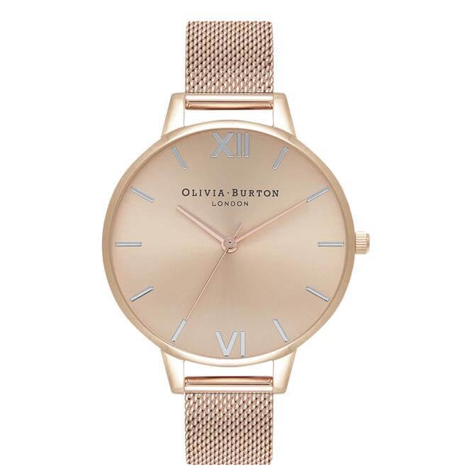 Olivia Burton Demi Dial Thin Case Pale Rose Gold Mesh Watch