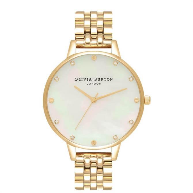 Olivia Burton White Mother of Pearl Thin Case Gold Bracelet Watch