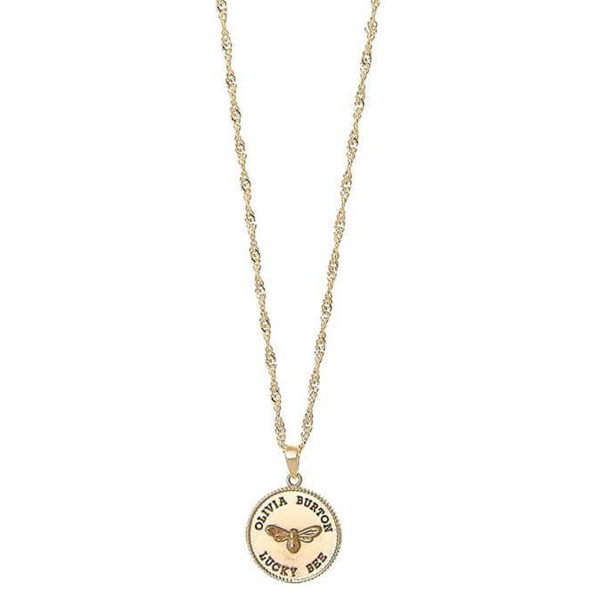 Olivia Burton Lucky Bee Coin Pendant Necklace