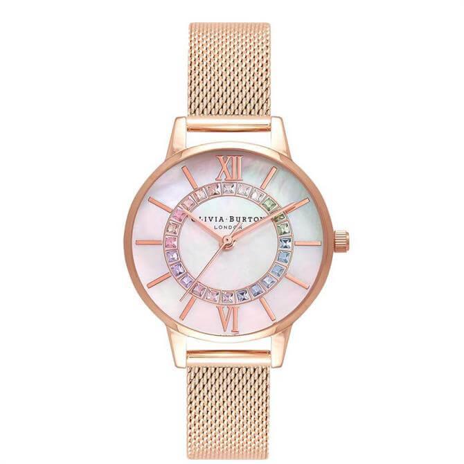 Olivia Burton Rainbow Sparkle Wonderland Rose Gold Mesh Watch