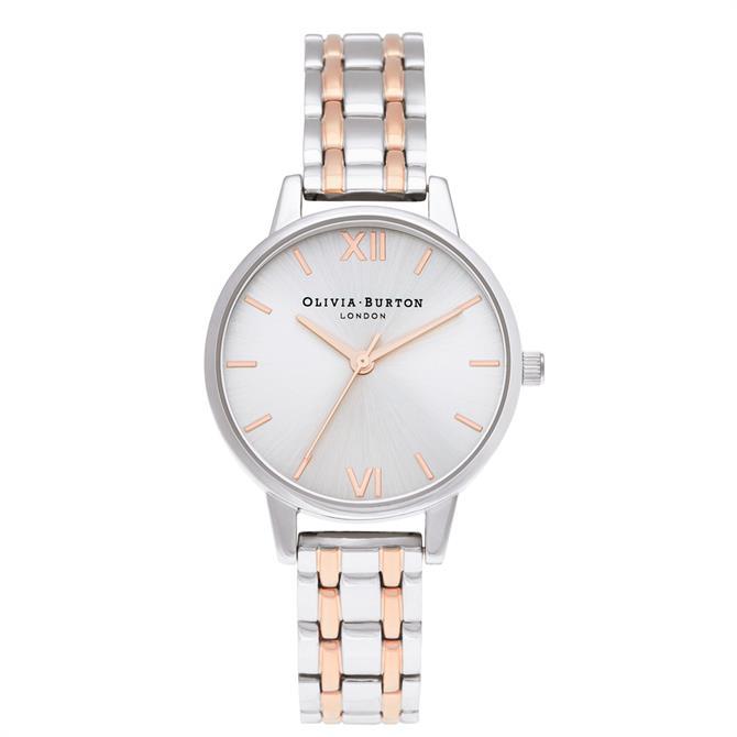 Olivia Burton Midi Dial Silver & Pale Rose Gold Watch