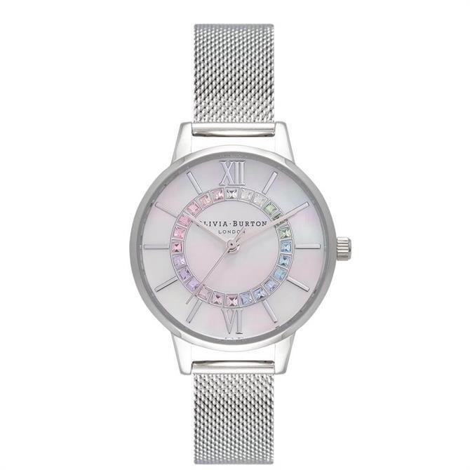 Olivia Burton Rainbow Sparkle Wonderland Silver Mesh Watch