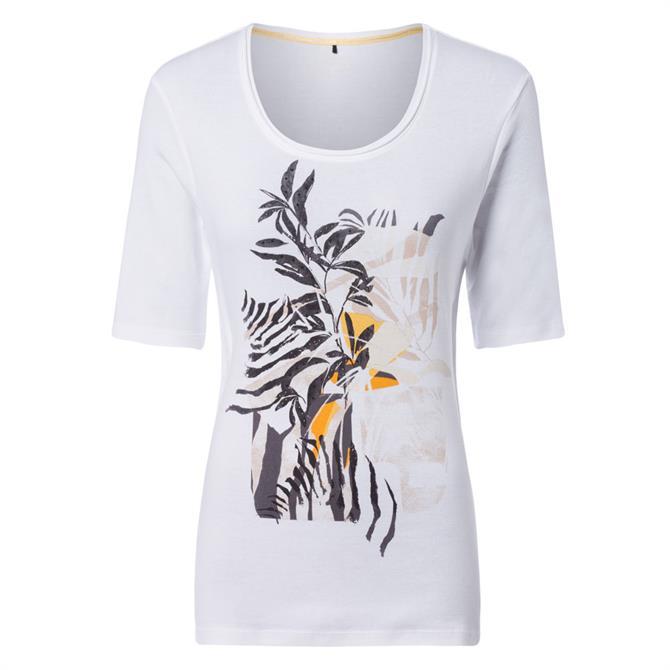Olsen Abstract Leaf Print T-Shirt