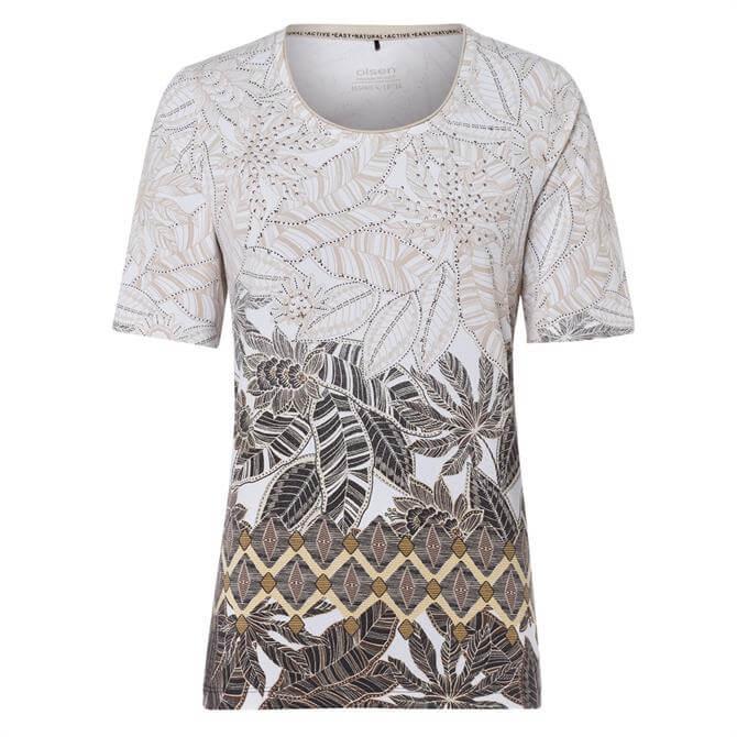 Olsen Floral and Foliage Print Crewneck Short Sleeve T-Shirt