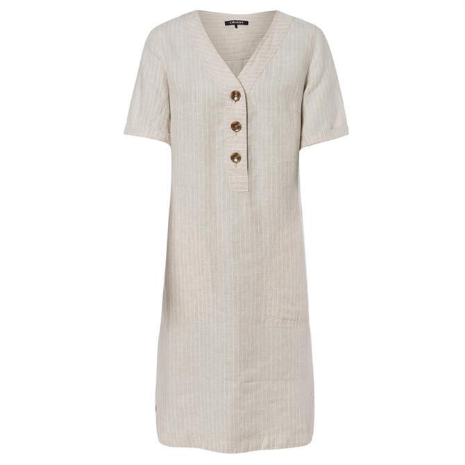 Olsen Button Front Linen Short Sleeve Shift Dress