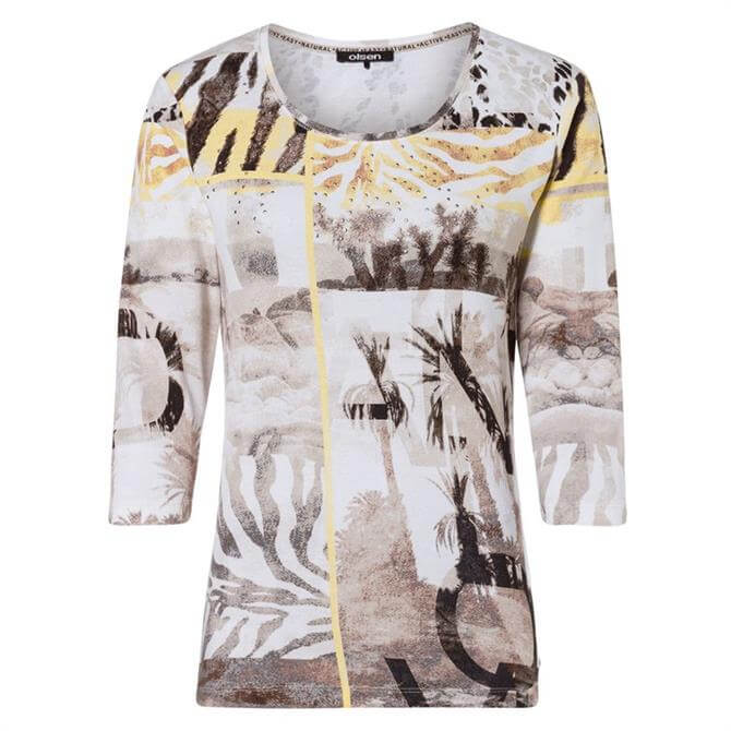 Olsen Mixed Motif Print T-Shirt