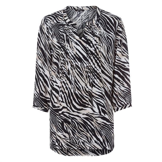 Olsen Zebra Print 3/4 Sleeve Tunic Blouse