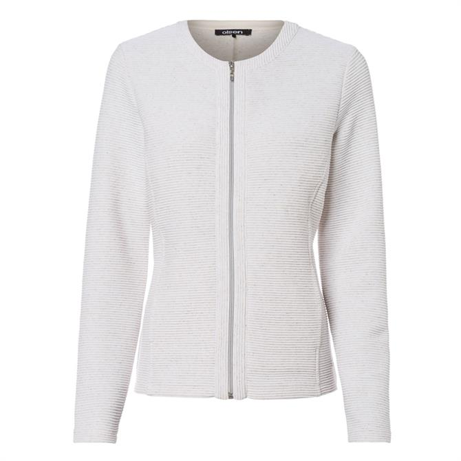 Olsen Zip Front Knit Crewneck Cardigan Jacket