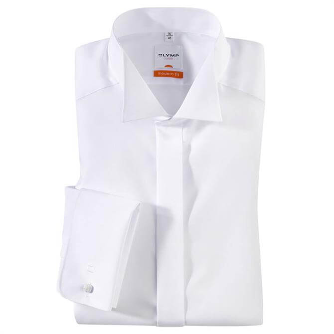 OLYMP Luxor Wing Tip Collar White Dress Shirt