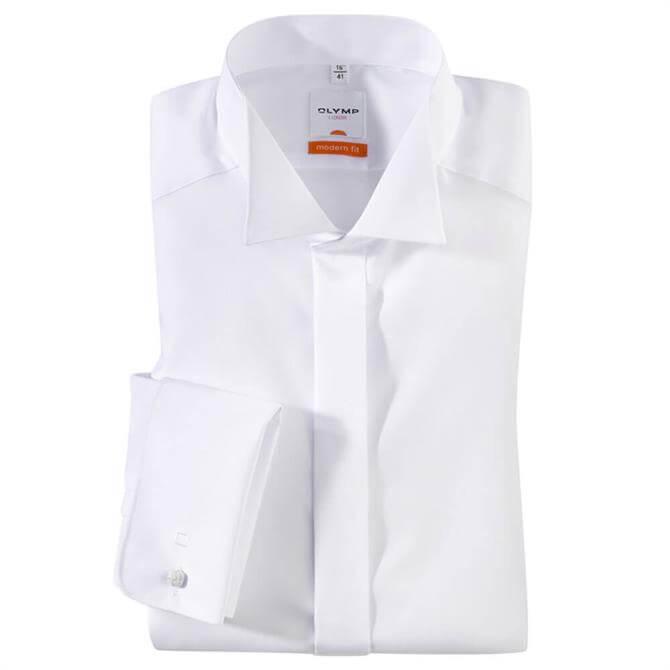OLYMP Luxor Wing Tip Collar White Dress Shirt