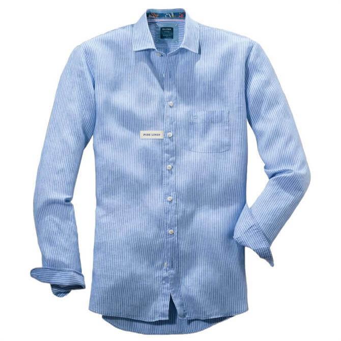 OLYMP Casual Modern Fit Kent Light Blue Stripe Shirt