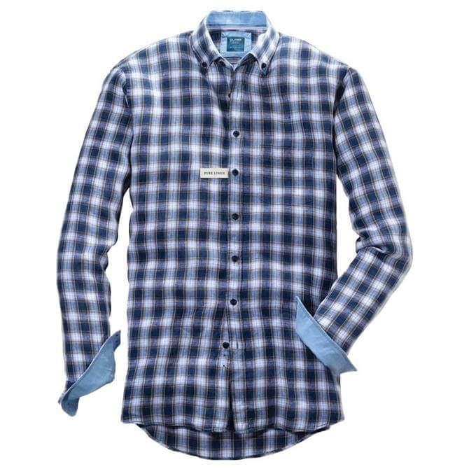 OLYMP Casual Modern Fit Blue Check Shirt
