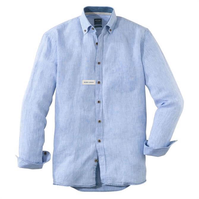 OLYMP Modern Fine Striped Long Sleeved Linen Shirt