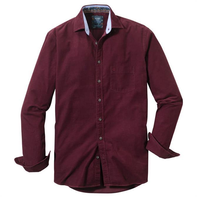 OLYMP Casual Shirt - Chianti / Mandarin / Green