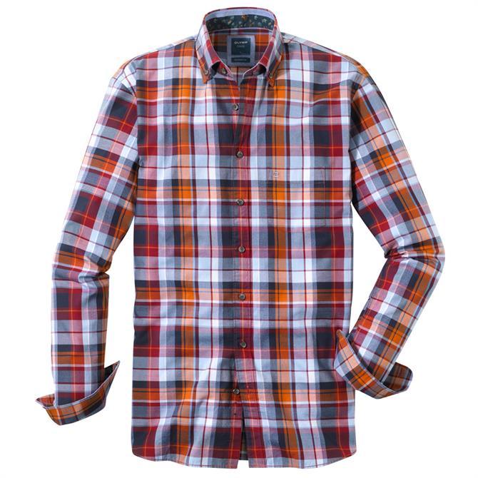 OLYMP Casual Shirt - Dark Red / Marine