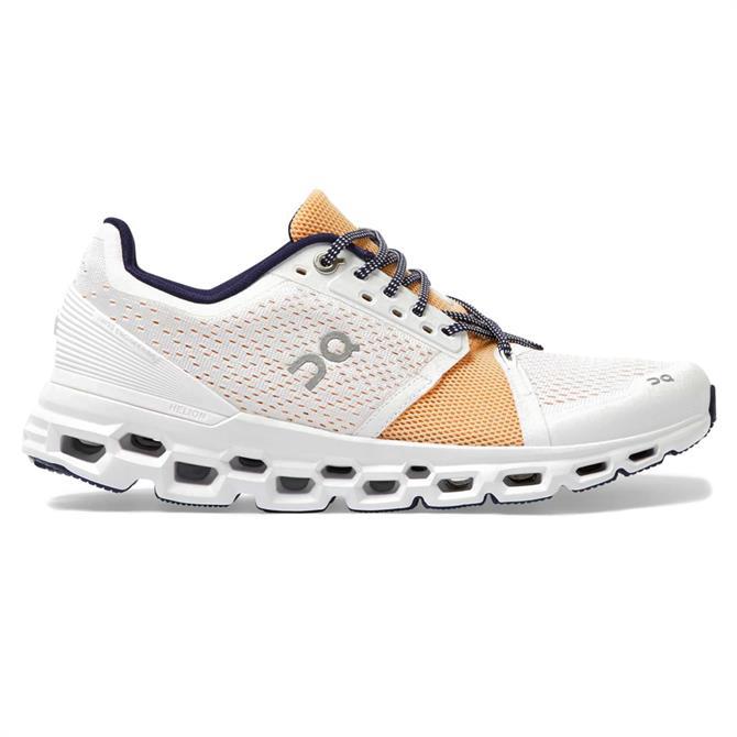 On Cloudstratus Women's Running Shoe - White/Almond
